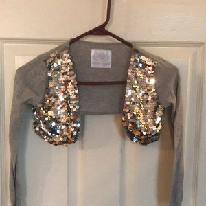 Justice sequins Long sleeve shrug